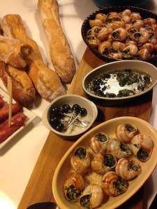 A French feast - escargot (snails and baguette. Laid on by my wonderful friends in Nancy.