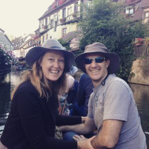 Me and my husband on a barge in Colmar, Alsace.