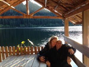 My husband and I blissing out at the beautiful Lac de Longemar in The Vosges mountains.